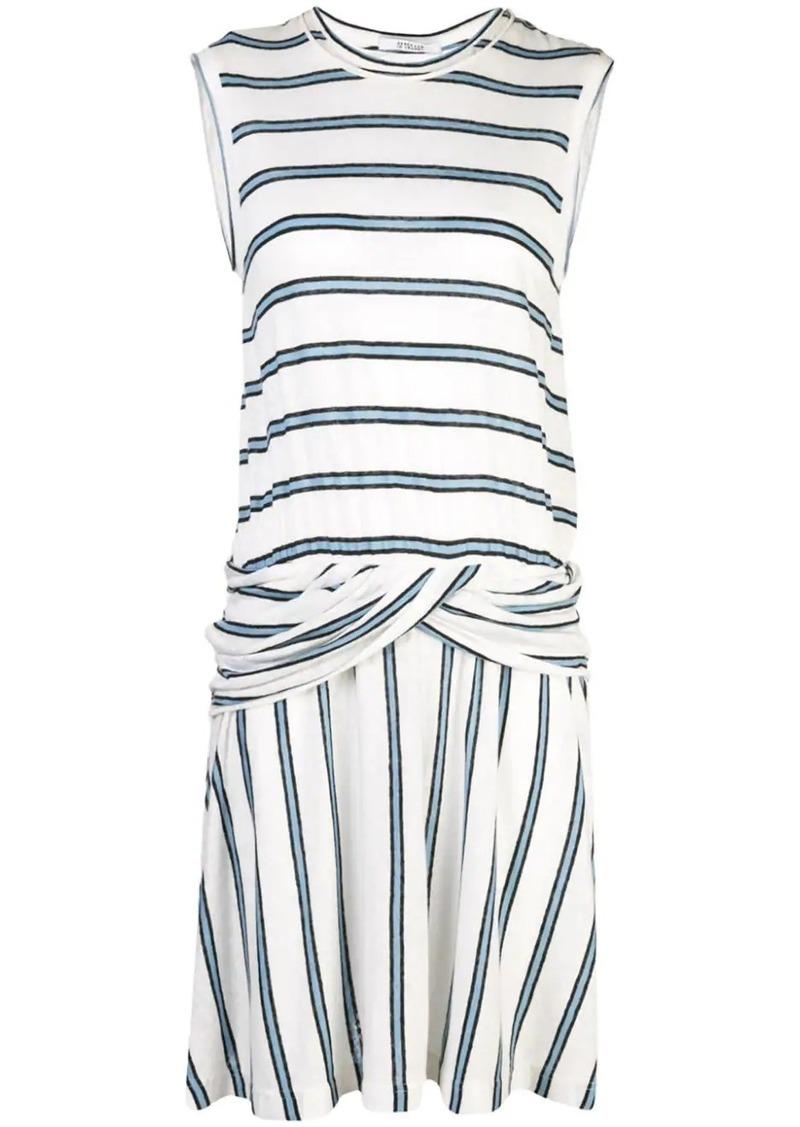 Derek Lam Linen Striped Jersey Tank Dress with Twist Waist Detail