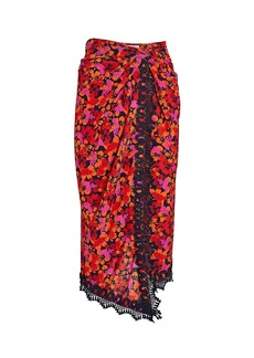 Derek Lam Liona Floral Crepe Wrap Skirt