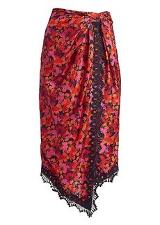 Derek Lam Liona Lace-Trimmed Faux-Wrap Skirt