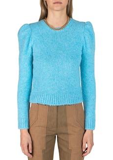 Derek Lam Locken Puff-Sleeve Crewneck Sweater
