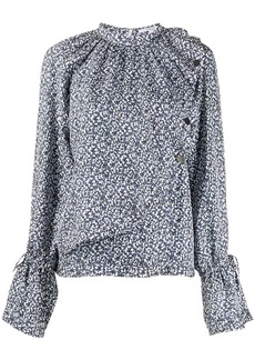 Derek Lam Long Sleeve Asymmetric Mini Paisley Draped Blouse with Snaps