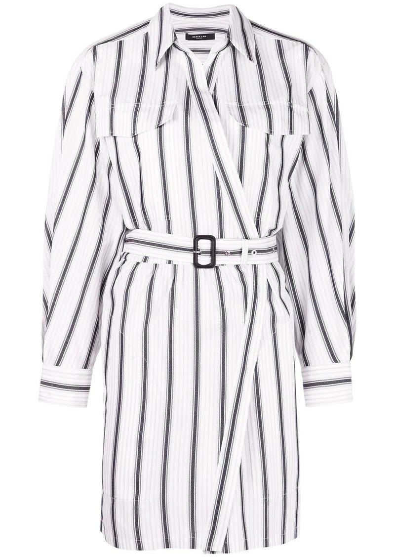 Derek Lam Long Sleeve Asymmetrical Bold Striped Placket Shirt Dress
