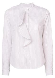 Derek Lam Long Sleeve Button-Down Shirt with Cascade Ruffle