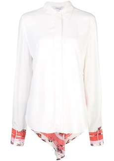 Derek Lam Long Sleeve Button-Down Shirt with Contrast Back