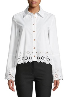 Derek Lam Long-Sleeve Button-Down Shirt with Eyelet Embroidery