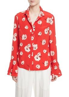 Derek Lam Long-Sleeve Button-Front Floral-Print Silk Shirt w/ Ruffle Cuff