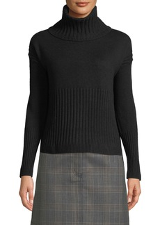 Derek Lam Long-Sleeve Cashmere Turtleneck Sweater w/ Rib Detail