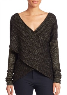 Derek Lam Long Sleeve Cross-Front Sweater