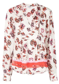 Derek Lam Long Sleeve French Floral Peplum Blouse with Neck Ties