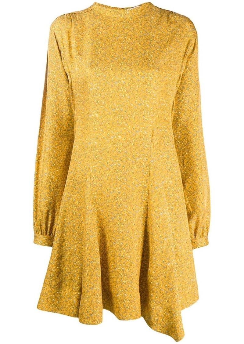 Derek Lam Long Sleeve Godet Insert Mini Paisley Dress