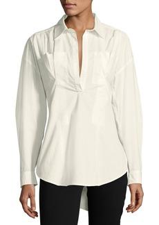 Derek Lam Long-Sleeve Lace-Up Back Poplin Shirt