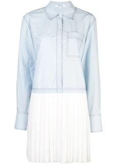 Derek Lam Long Sleeve Mixed Media Cotton Poplin Shirt Dress with Pleated Hem