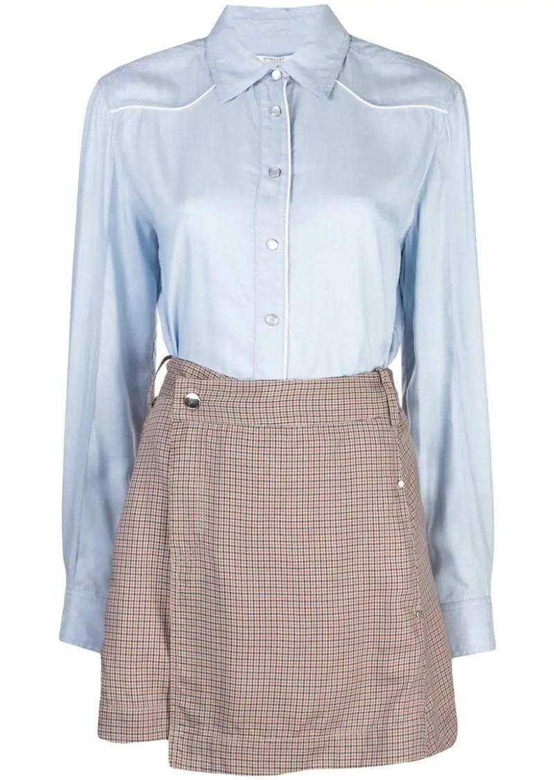 Derek Lam Long Sleeve Mixed Media Shirt Dress with Twil Wrap Skirt