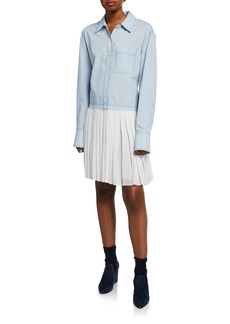 Derek Lam Long-Sleeve Mixed Media Shirtdress with Pleated Hem