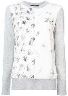 Derek Lam Long Sleeve Mixed Print Crewneck Sweater
