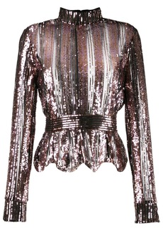 Derek Lam Long Sleeve Mock Neck Sequin Stripe Top