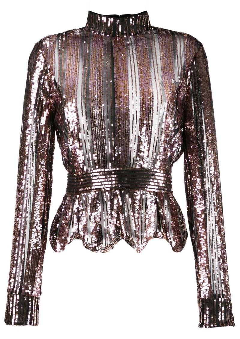 Derek Lam Long Sleeve Mock Neck Sequin Stripe Top