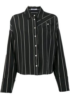 Derek Lam Long Sleeve Pinstripped Silk Button-Down Shirt with Contrast Sleeves