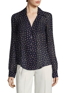 Derek Lam Long-Sleeve Polka Dot Button-Down Silk Shirt
