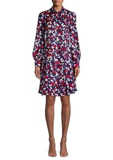 Derek Lam Long-Sleeve Poppy Print Silk Shirt Dress