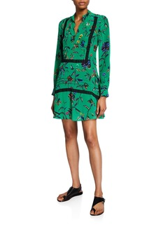 Derek Lam Long-Sleeve Printed Half-Placket Shirt Dress