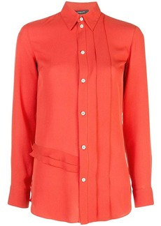Derek Lam Long Sleeve Ruffle Edge Georgette Button-Down Blouse