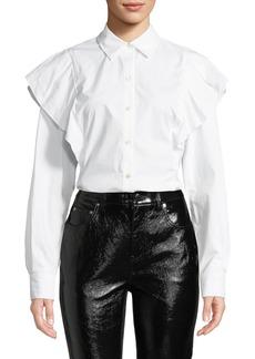 Derek Lam Long-Sleeve Ruffle Shoulder Button-Front Top