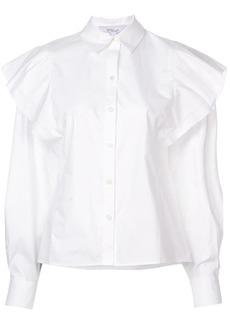 Derek Lam Long Sleeve Ruffle Shoulder Shirt
