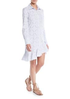 Derek Lam Long-Sleeve Shirtdress w/ Ruffle Hem