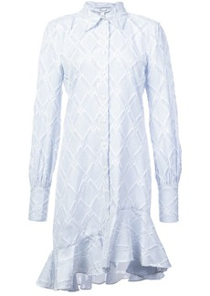 Derek Lam Long Sleeve Shirtdress with Ruffle Hem
