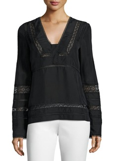 Derek Lam Long-Sleeve Silk Lace-Trim Blouse