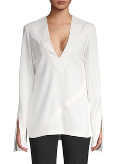 Derek Lam Long-Sleeve V-Neck Top