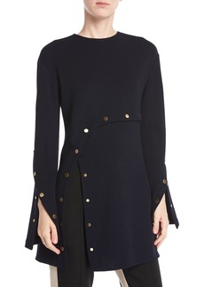 Derek Lam Long-Sleeve Wool Crepe Jersey Top w/ Snap Detail