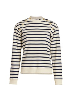 Derek Lam Lucie Button-Trimmed Stripe Cotton Sweater