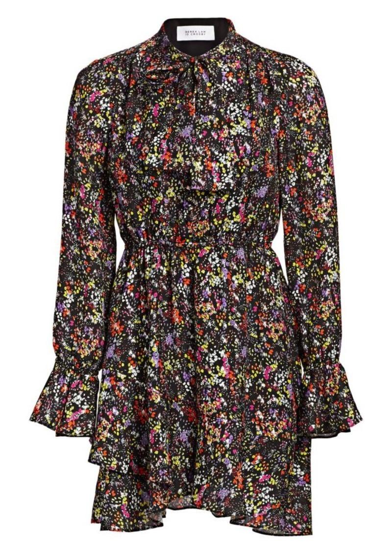 Derek Lam Lurex Floral Silk-Blend Ruffle-Hem Dress