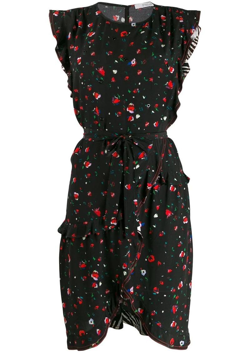 Derek Lam Lyra Belted Splatter Floral Ruffle Dress