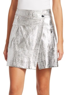 Derek Lam Metallic Leather Wrap Mini Skirt