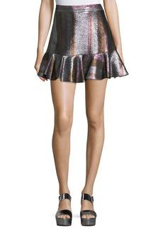 Derek Lam Metallic Ruffle-Hem Flounce Skirt