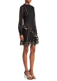 Derek Lam Metallic Ruffle Long-Sleeve A-Line Dress