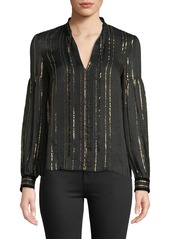 Derek Lam Metallic Tie-Neck Long-Sleeve Silk Blouse