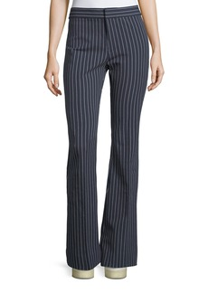 Derek Lam Mid-Rise Striped Flare Cotton-Stretch Trouser