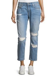 Derek Lam Mila Mid-Rise Slim Girlfriend Jeans w/ Distressing