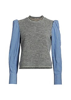 Derek Lam Mixed-Media Puff-Sleeve Sweater