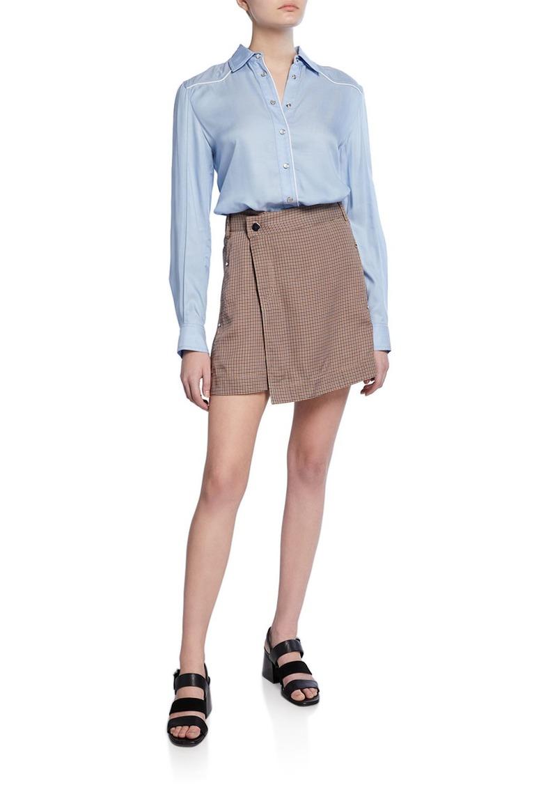 Derek Lam Mixed Media Shirt Dress with Wrap Skirt
