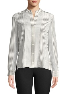 Derek Lam Mixed-Print Button-Front Blouse
