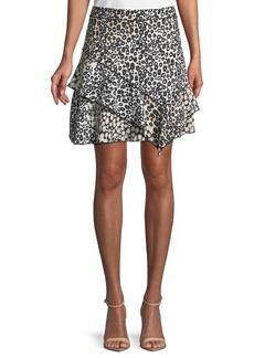 Derek Lam Mixed-Print Ruffled Mini Skirt