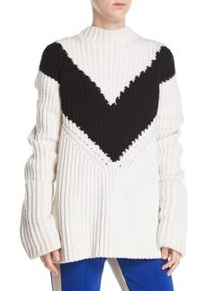 Derek Lam Mock-Neck Long-Sleeve Chevron Ribbed Cashmere Sweater