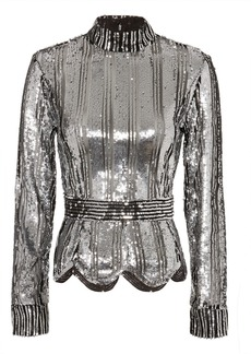 Derek Lam Mock Neck Sequin Top