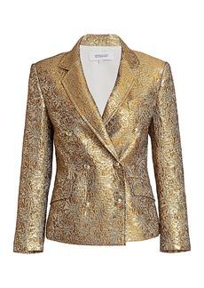 Derek Lam Myla Metallic Double-Breasted Jacket