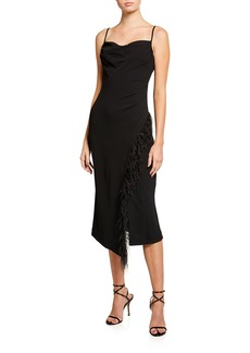 Derek Lam Nellie Sleeveless Cocktail Dress with Feathers